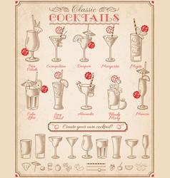 Famous cocktails blackboard menu vector