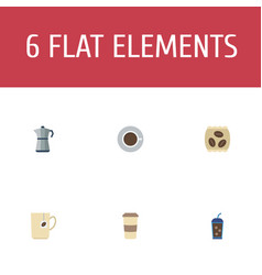 Flat icons package latte mug saucer and other vector