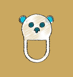 Flat shading style icon teddy bear bib vector