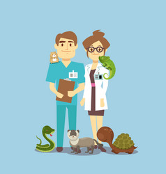 Flat veterinarian and exotic pets isolated on vector