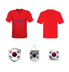 Football kit south korea with flag t-shirt vector