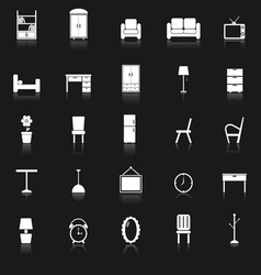 Furniture icons with reflect on black background vector image