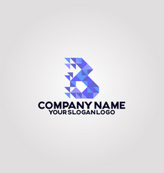 geometry polygon triangle logo letter b 01 vector image