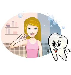Girl brushing her teeth vector
