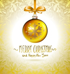 Golden realistic Christmas balls yellow vector image