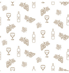grape and wine seamless pattern icons in vector image