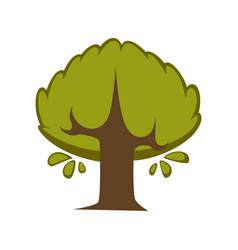 Green tree flat icon eco nature symbol of vector
