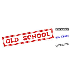 Grunge old school scratched rectangle watermarks vector