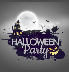 Halloween party background with castle and moon vector