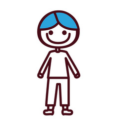 Hand drawing silhouette boy with coat and shorts vector