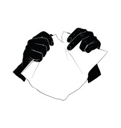 hand tearing paper vector image