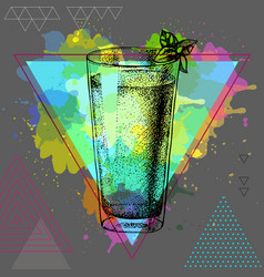 Hipster cocktail mojito vector
