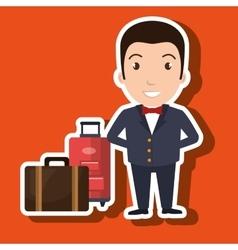 Hotel suitcase customer employee vector