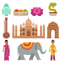 india collection set with traditional symbols of vector image