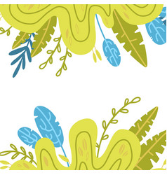 leaves drawing frame square boho border vector image