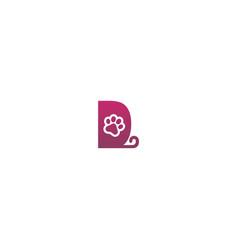Letter d logo design dog footprints concept icon vector
