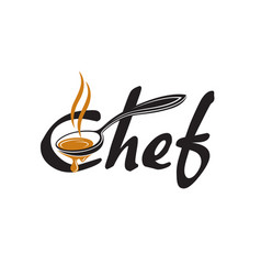lettering chef with spoon vector image vector image
