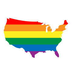 lgbt rainbow pride flag in a shape of usa map vector image