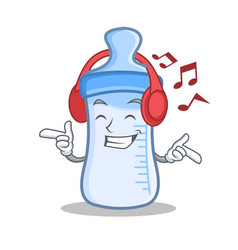 Listening music baby bottle character cartoon vector