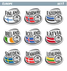 Logo for european football ball flag vector