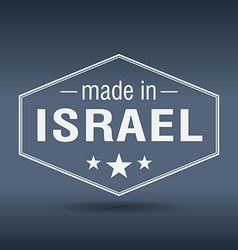 Made in Israel hexagonal white vintage label vector