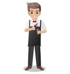 male bartender holding pouring a glass of wine vector image
