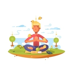 Man meditating in park vector
