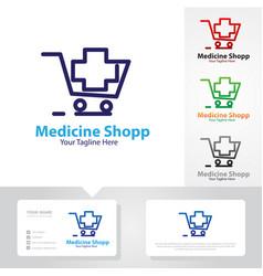 medicine shop logo designs vector image