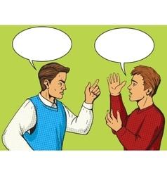 Men debate pop art style vector image