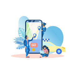 mobile application call taxi vector image