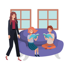 mother and children sitting in couch avatar vector image