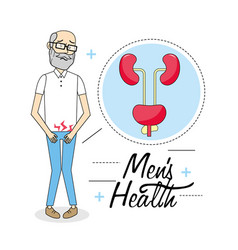Old man with illness of the urinary system vector