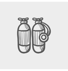 Oxygen tank sketch icon vector image
