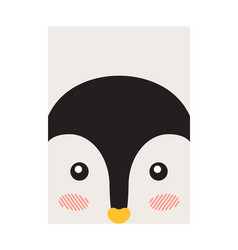 penguin closeup animal face vector image