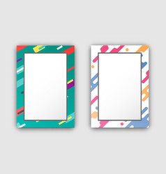 Photo frames set with color border abstract figure vector