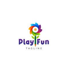 playful colorful abstract flower kids education vector image