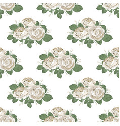retro floral seamless pattern roses on white vector image