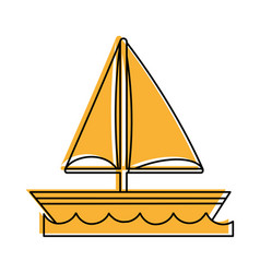 Sailboat on water icon image vector