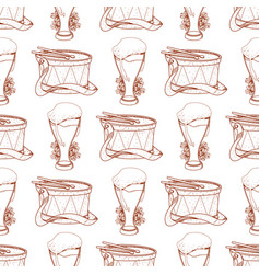 Seamless pattern with drum and frothy beer in a vector