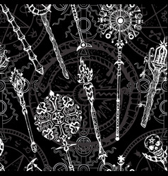 Seamless pattern with magic wands vector