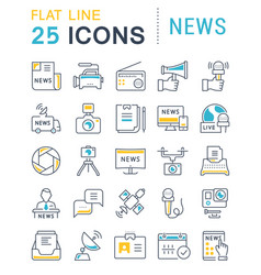 set flat line icons news vector image