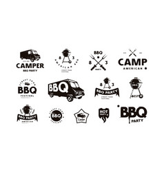 Set logo and emblem for barbecue festival vector