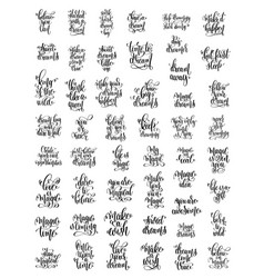 Set of 50 handwritten lettering positive magic vector