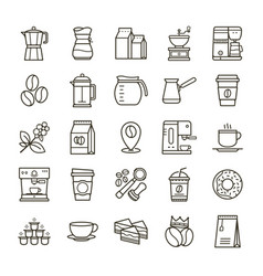 Simple set of coffee related line icons vector