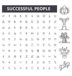 successful people line icons signs set vector image