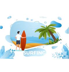 surfing man on a beach vector image