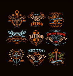 Tattoo studio logo design set retro styled vector