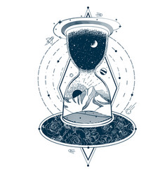 tattoo with an hourglass enclosing sky vector image
