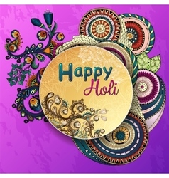 Template poster Indian festival Happy Holi vector