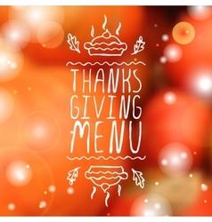 Thanksgiving menu - typographic element vector